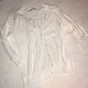 Loft 3/4 sleeve white cardigan sweater Size M